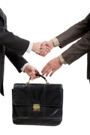 two businessmen shaking hands and transfer briefcase over white background photo