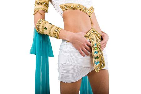 Cleopatra costume over white background photo
