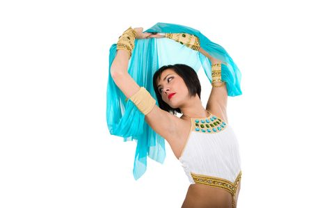 Egyptian woman in pharaoh costume over white background photo