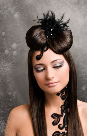 Picture of fashionable model with beautiful hairstyle. Stock Photo
