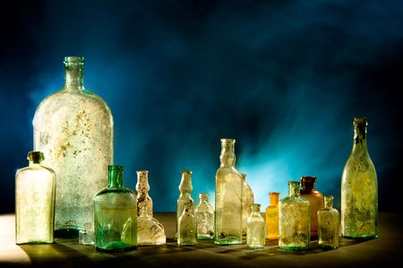 Magic bottles on dark