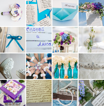 Collection of wedding details. Close-up image view Stock Photo