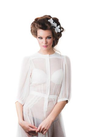 sexy young girl: Студия фото съемки. Мода модель в сексуальном прозрачном платье Фото со стока