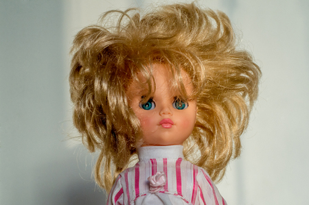 close-up portrait, retro doll with lush hair