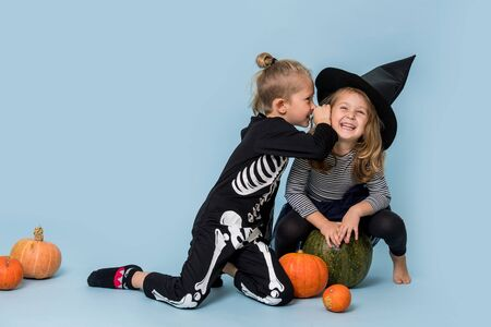 Two cute happy kid siblings wearing witch and skeleton costumes gossiping over blue. Pumpkins laid around them. Boy standing on his knees and whispering in a girl's ear. She sits on a big pumpkin.