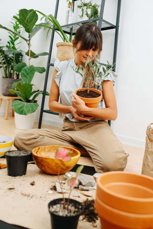 Smiling young woman sitting on her legs in a living room, looking dearly at the potted plant in her embrace.