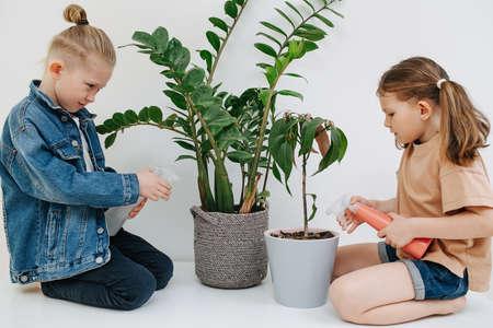 Cute little siblings sitting on their legs, watering plants with spray bottles