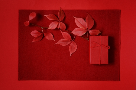 Red gift box on a red background. Romantic gift for Valentines day. Top view with place for text. Flat lay, Autumn leaves