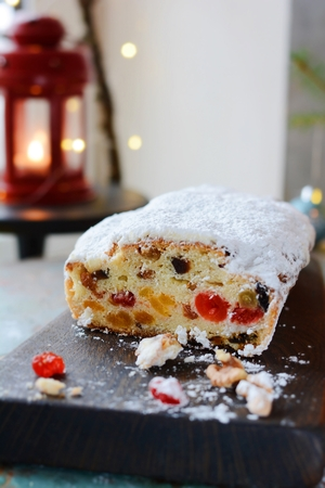 Dresden Christmas Stollens Delicious festive Christmas dessert. Stockfoto