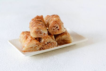 Turkish Ramadan Dessert Baklava with walnut, peanuts and honey syrup. Middle eastern or arabic dishes. Traditional arabic dessert Stok Fotoğraf