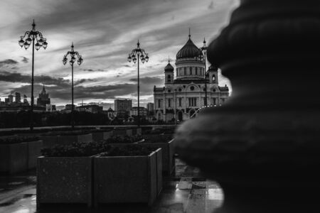 Black and White of Cathedral of Christ the Saviour. Unusual angle. Moscow architecture. Dramatic picture.